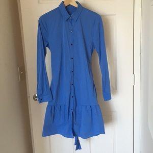 Zara blue shirt dress